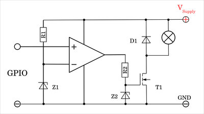 Operational amplifier driving an N-channel MOSFET