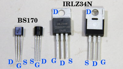 N-channel MOSFETs IRLZ34N and BS170