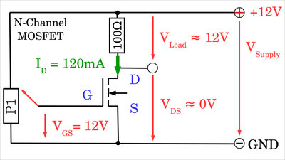N-channel MOSFET at maximal gate voltage