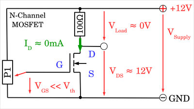 N-channel MOSFET switched OFF