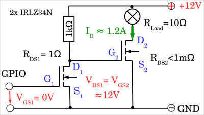 N-channel MOSFET with preamplifier turned ON