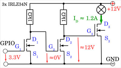 N-channel MOSFET with 2 preamplifying stages