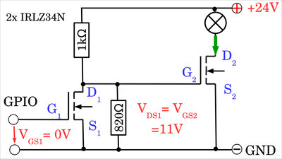 Preamplifying stage with voltage divider