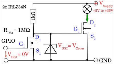 Preamplifying stage with Zenerdiode
