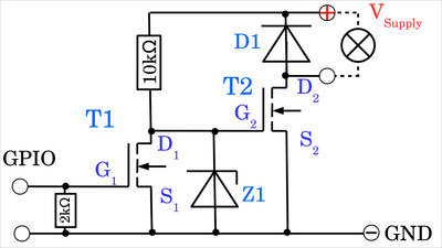 N-channel MOSFETs with one preamplifying stage, example circuit