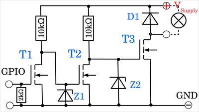 N-channel MOSFETs with two preamplifying stages, example circuit