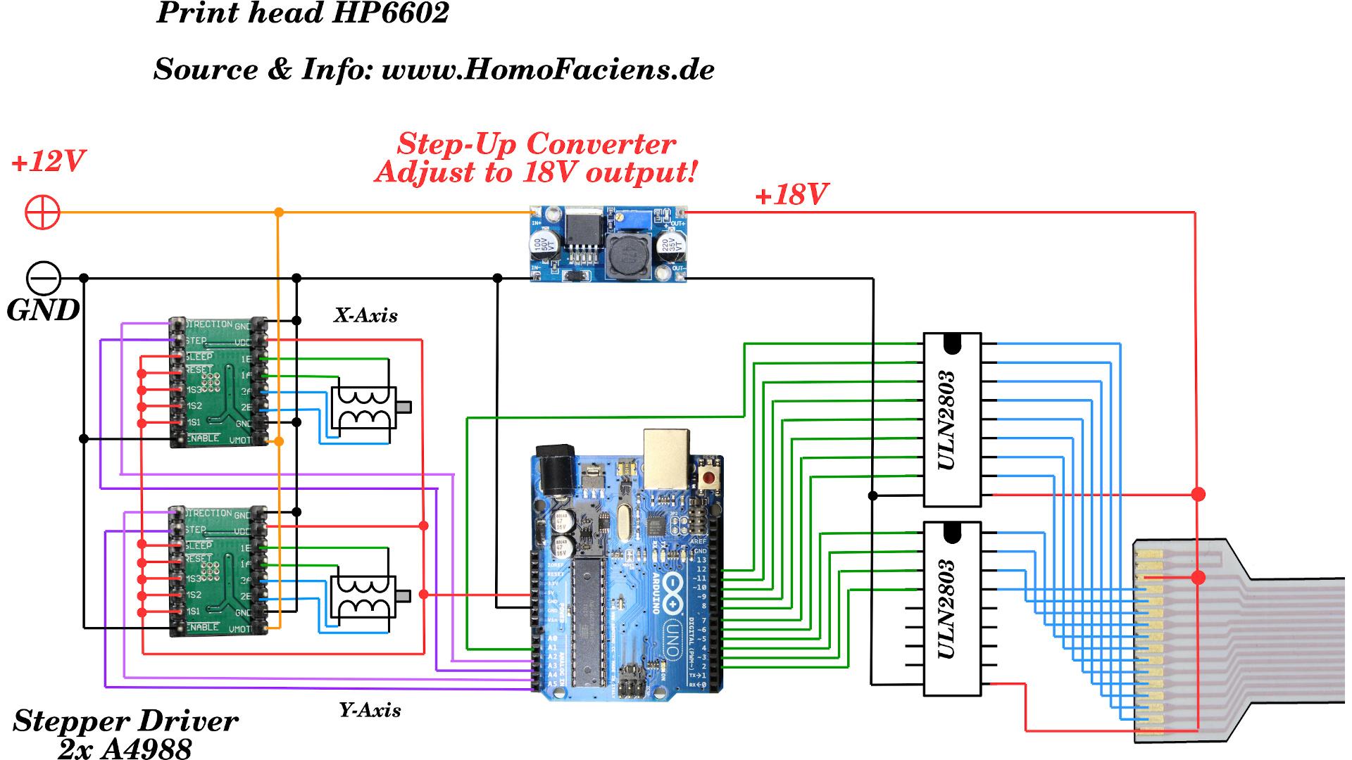 Схема самодельного струйного принтера на Arduino